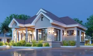 House Plan ID-19343, 3 bedrooms, 2775+1380 bricks and 107 corrugates