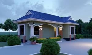 House Plan ID-19705, 2 bedrooms, 1092+543 bricks and 56 corrugates